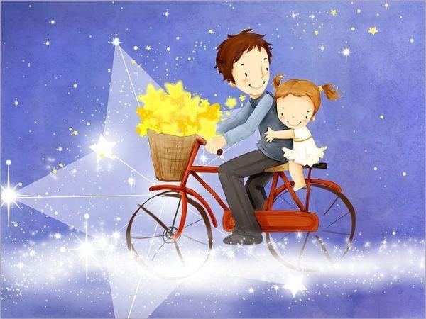 爸爸骑着自行车带着孩子的卡通图