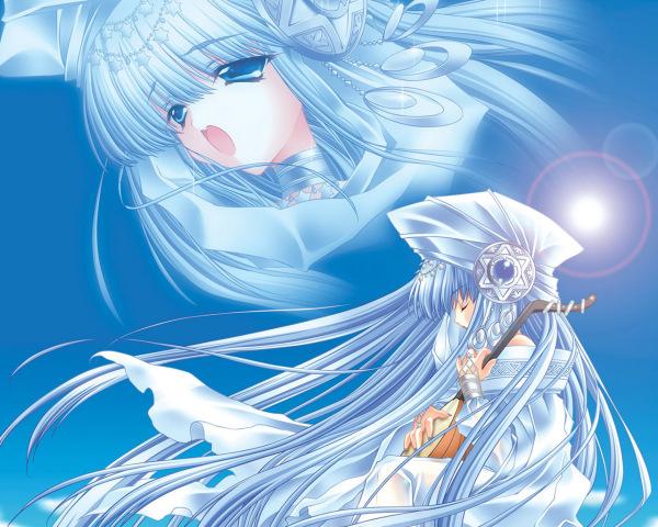 求一张动漫女生图片,水蓝色的长发,冰蓝色的眼睛图片