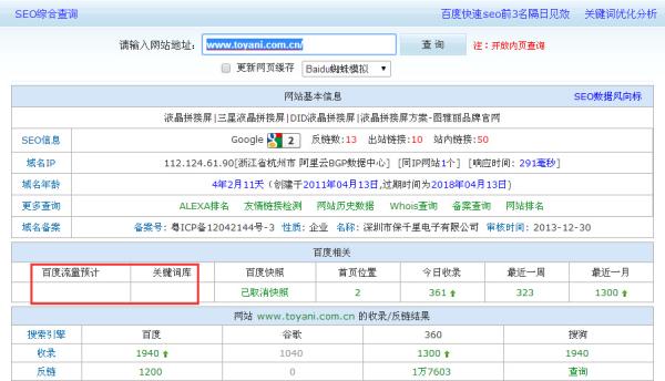 为什么查询www.toyani.com.cn无法看到流量预计跟关键词库?