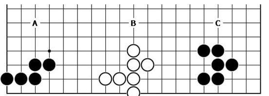 下图中的棋子各有几口气?a:(图片