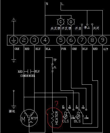 这是一张电动阀的开关控制接线图,其中heater这个元件不知是什么?图片