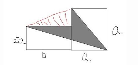 算出正方形的对角线长度,然后算等边三角形的面积,减去直角三角形的面图片