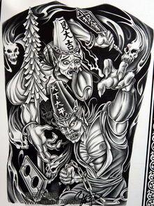 黑白无常抬棺材纹身图分享展示图片