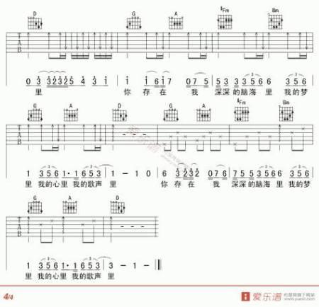 求果木浪子简化版,我的歌声里吉他谱图片图片