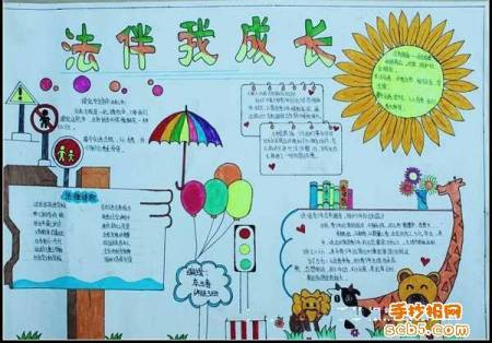 法制教育的手抄报简化,以法治为主题的绘画,法制手抄报简单又漂亮,画