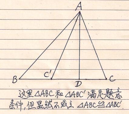 有两边和第三条边上的高对应相等的两个锐角(或钝角)三角形全等怎么图片