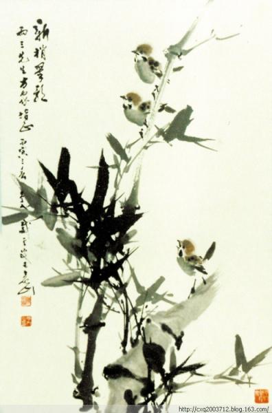 竹子水墨画纹身手稿分享展示图片