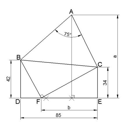 这张图怎么画.已知三角形的顶角在对边的三等分线上.顶角角度为75度图片