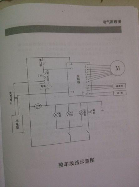 整车电路 电动车48v加转换器12v接led灯高清图片