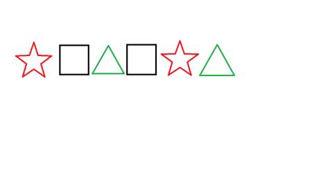 把两个正方形,三角形,五角星都是两个,使两个正方形中间有一个其他图片